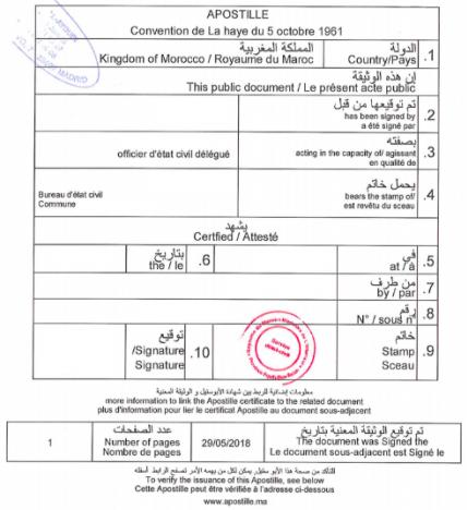 Certificado de Nacimiento de Marruecos