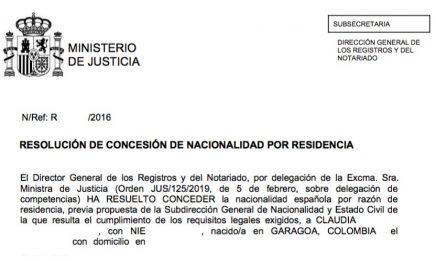 concesión de nacionalidad española Claudia
