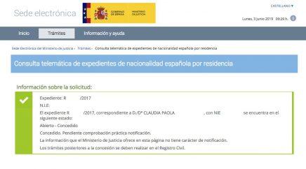 Resoluciones de concesión de nacionalidad española Claudia Paola