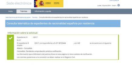 Resolución de Concesión de Nacionalidad Española Ibtissam