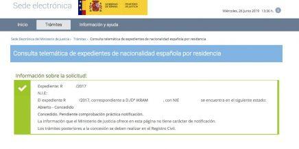 resoluciones de concesión de nacionalidad española Ikram