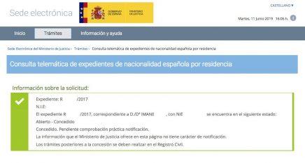 resoluciones de concesión de nacionalidad española Imane