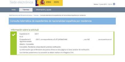 resoluciones de concesión de nacionalidad española Jhonathan