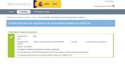 Resoluciones de concesión de nacionalidad española Khadaim