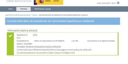 Resolución de Concesión de Nacionalidad Española Kobita