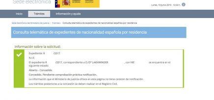 Resolución de Concesión de Nacionalidad Española Lakhwinder