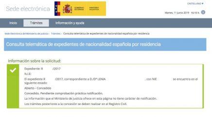 resoluciones de concesión de nacionalidad española Lenia