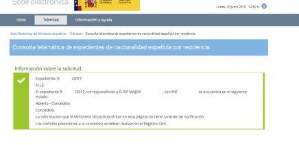 Resolución de Concesión de Nacionalidad Española Majda