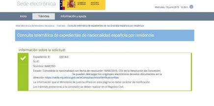 resoluciones de concesión de nacionalidad española Narciso