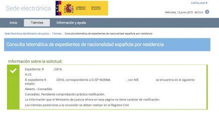 resoluciones de concesión de nacionalidad española Norma