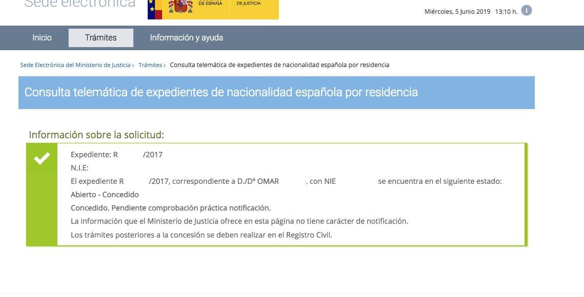 concesión de nacionalidad española Omar