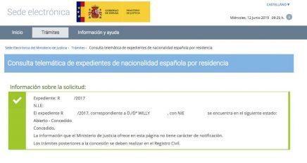 resoluciones de concesión de nacionalidad española Willy