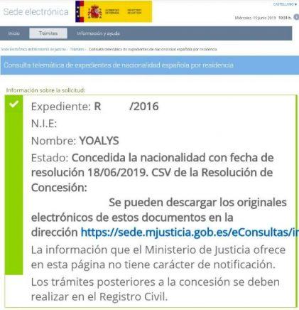 resoluciones de concesión de nacionalidad española Yoalys