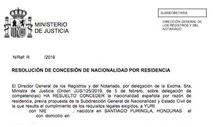 Resolución de Concesión de Nacionalidad Española Yuri