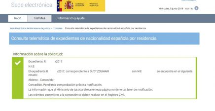 concesión de nacionalidad española Zouhair