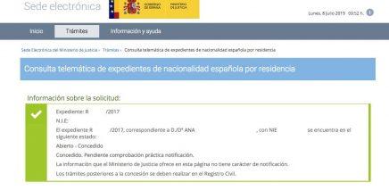Resoluciones de Concesión de Nacionalidad Española Ana