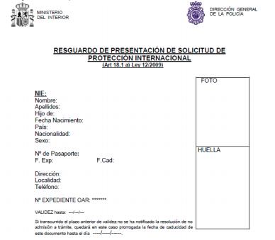 Resguardo presentación solicitud protección internacional
