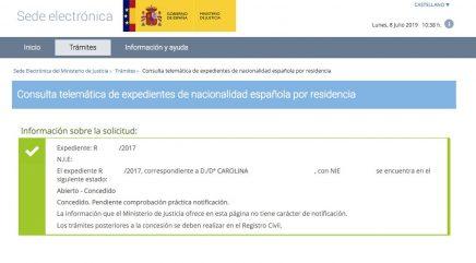 Resoluciones de Concesión de Nacionalidad Española Carolina