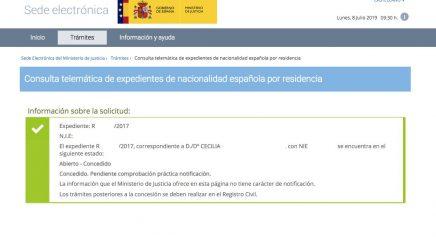 Resoluciones de Concesión de Nacionalidad Española Cecilia