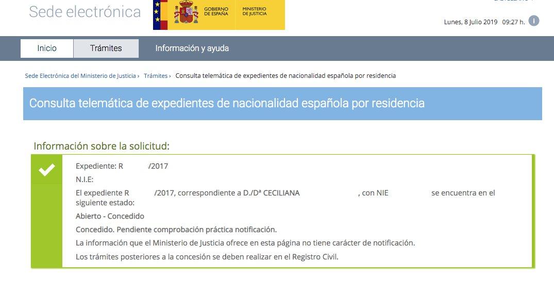 Resoluciones de Concesión de Nacionalidad Española Ceciliana