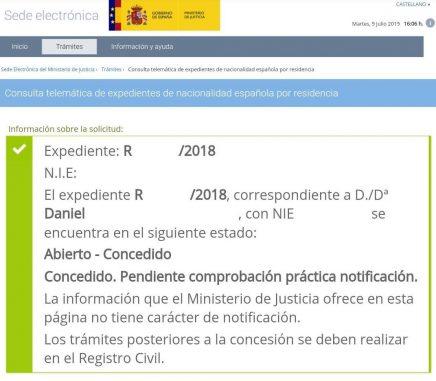 Resoluciones de Concesión de Nacionalidad Española Daniel