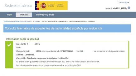 Resolución de Concesión de Nacionalidad Española de Ehtisham