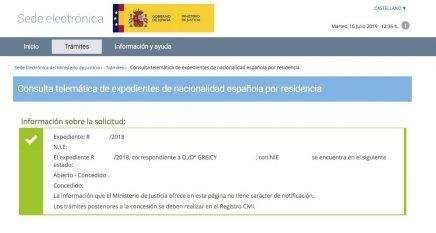 Resolución de Concesión de Nacionalidad Española de Greicy