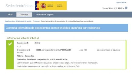 Resolución de Concesión de Nacionalidad Española de Hissamir