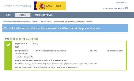 Resolución de Concesión de Nacionalidad Española de Ivan
