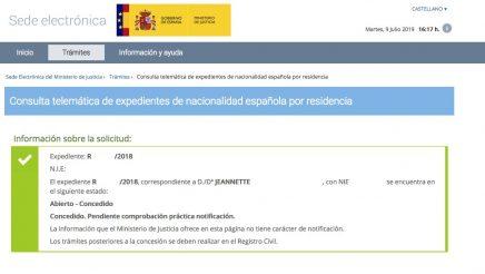 Resoluciones de Concesión de Nacionalidad Española Jeannette