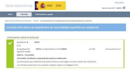 Resoluciones de Concesión de Nacionalidad Española Jorge
