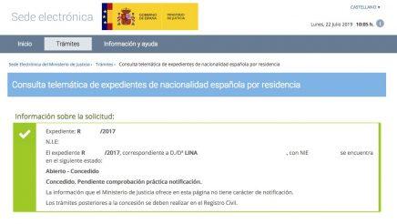 Resolución de Concesión de Nacionalidad Española de Lina