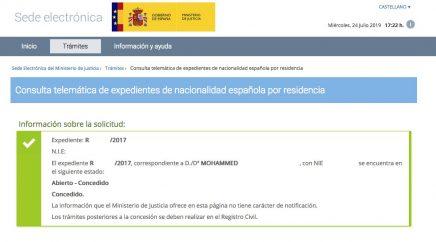 Concesión de Nacionalidad Española de MOHAMMED