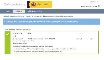 Resoluciones de Concesión de Nacionalidad Española Madelyn