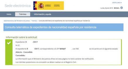 Resoluciones de Concesión de Nacionalidad Española Manjit