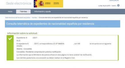 Resoluciones de Concesión de Nacionalidad Española Mariya