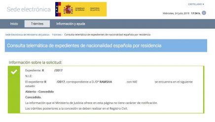 Concesión de Nacionalidad Española de RAMSHA
