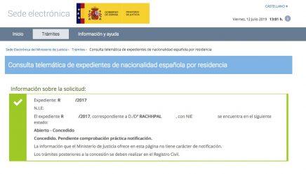 Resolución de Concesión de Nacionalidad Española de Rachhpal