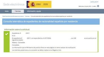 Concesión de Nacionalidad Española de Rosa