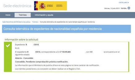 Resolución de Concesión de Nacionalidad Española de Ruvilma