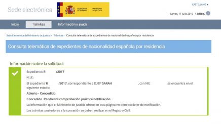 Resoluciones de Concesión de Nacionalidad Española Sarah