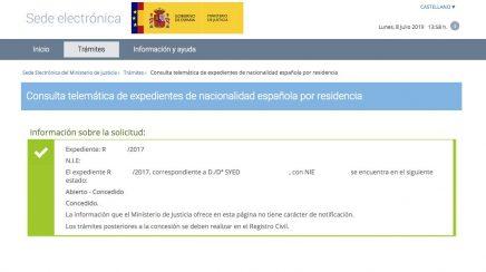 Resoluciones de Concesión de Nacionalidad Española Syed