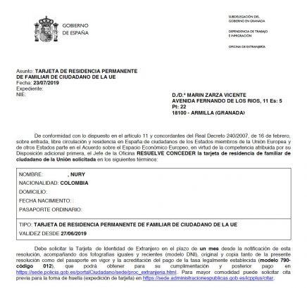Tarjeta de Residencia Permanente de Familiar de Comunitario de Nury