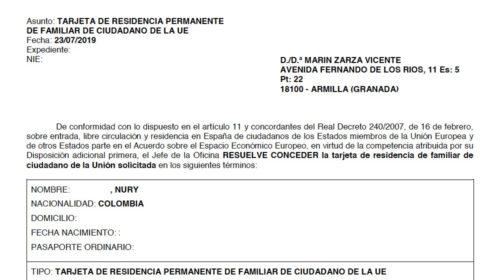 Nueva Resolución favorable de Tarjeta de Residencia Permanente de Ciudadano de la UE