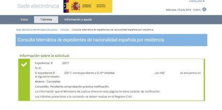 Resoluciones de Concesión de Nacionalidad Española Viviana