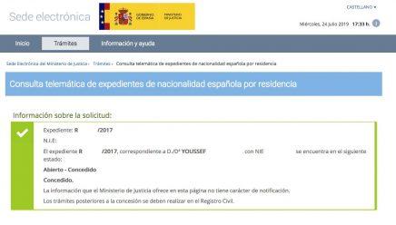 Concesión de Nacionalidad Española de YOUSSEF