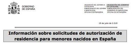 nota informativa autorizacion de residencia menores nacidos en españa