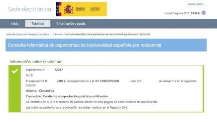 Resolución de Concesión de Nacionalidad Española de Concepción