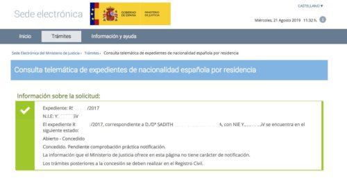Resoluciones de Concesión de Nacionalidad Española: 21 Agosto 2019