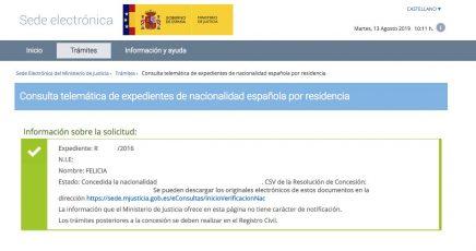 Felicia concesion de nacionalidad española